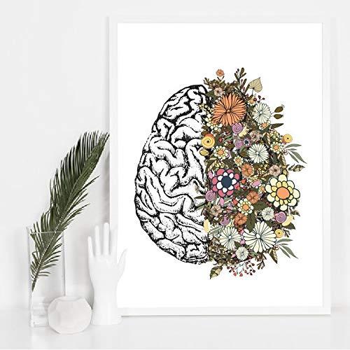 mmzki Vintage Anatomía Floral Corazón Cerebro Arte de la Pared Pintura de la Lona Carteles e Impresiones Retros Cuadros de la Pared Médico Médico Clínica Decoración