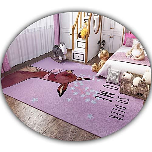 El Dormitorio de los niños Super Suave Patrón de área de Animales de Dibujos Animados Alfombra púrpura rectángulo Antideslizante Sala Niño Niña Alfombra Dormitorio 3.28 (Size : 80x160cm)