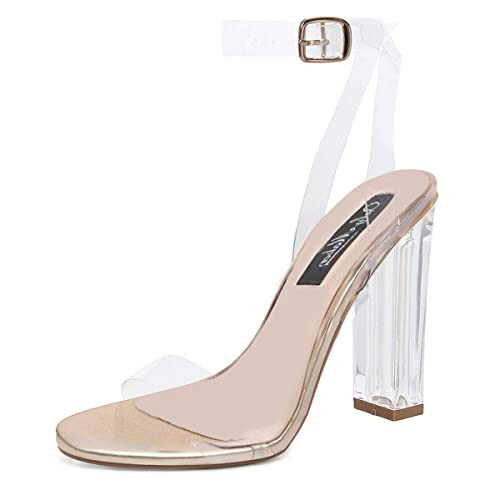 6d1d2b5f9b11 onlymaker Women s Lucite Clear Ankle Strap Adjustable Buckle Block Chunky  Perspex High Heel Transparent Dress Sandals