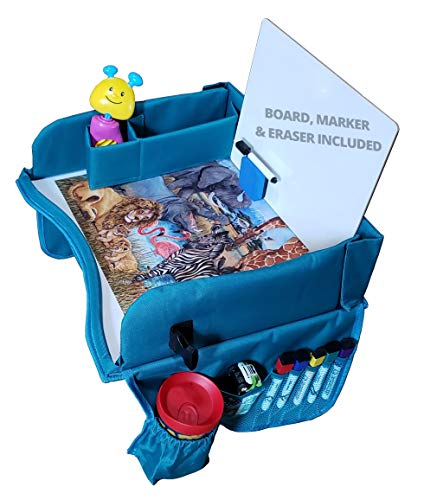 Kids Travel Tray for Carseat - Bonus Dry Erase Board and Coloring Pages, Toddler Travel Activity Tray, Travel Tray for Booster Seat, Lap Table for Car Seat, Child Snack Play Tray