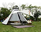 extérieur imperméable Double Couches Famille Camping Indien tipi Tente Teepee Tente (Blanc)