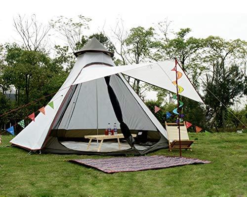 Safaricamping Leichte wasserdichte Doppelschichten Camping indischen Tipi Zelt Jurte Tipi Zelt für Outdoor-Wandern. (Weiß)