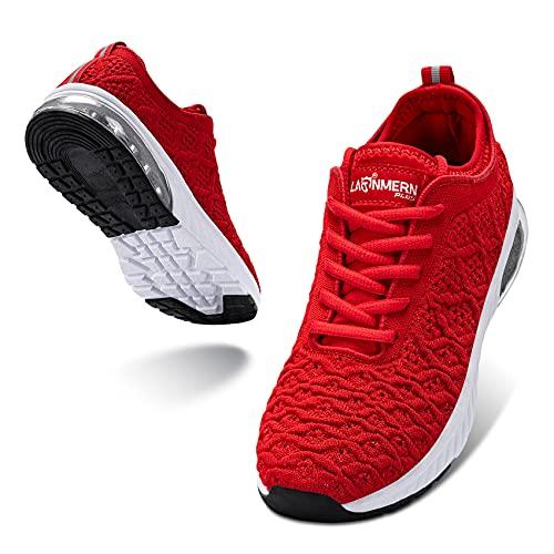 LARNMERN PLUS Sneakers Mujer Colchón Aire Zapatos Transpirables Asfalto Calzado Rojo 38