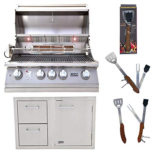 Lion Premium Grills 32-Inch Natural Gas Grill L75000 and Door and Drawer Combo with Towel Rack with 5 in 1 BBQ Tool Set Package Deal Gas Grills Natural