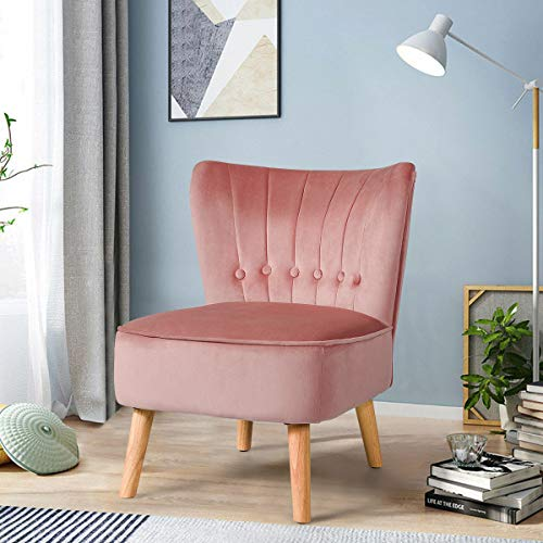 COSTWAY Velvet Accent Chair, Armless Side Dining Chair with Non-slip Pads, Modern Fabric Upholstered Padded Occasional Wingback Leisure Chair for Dressing, Lounge, Kitchen and Office (Pink)