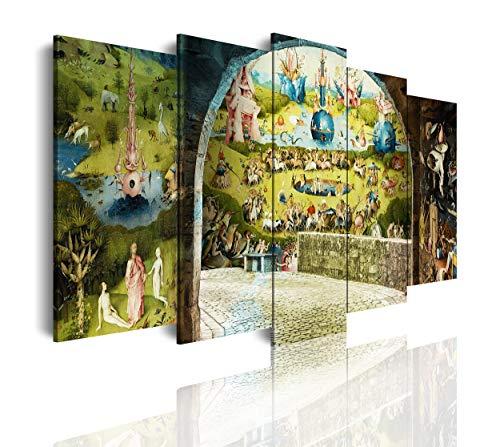 DekoArte 546 - Cuadros Modernos Impresión de Imagen Artística Digitalizada | Lienzo Decorativo para Salón o Dormitorio | Estilo Abstractos Arte El Bosco El Jardín De Las Delicias | 5 Piezas 150x80cm