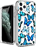 LUHOURI iPhone 11 Pro Max Case with Screen Protector,Clear with Floral Flower Designs for Girls Women,Shockproof Slim Fit Protective Phone Case for iPhone 11 Pro Max 6.5 inch 2019 Blue Butterflies