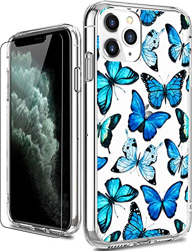 LUHOURI iPhone 11 Pro Case with Screen Protector,Clear with Floral Flower Designs for Girls Women,Shockproof Slim Fit Protective Phone Case for iPhone 11 Pro 5.8 inch 2019 Blue Butterflies