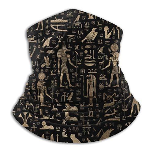 CLERO& Scarf Fleece Neck Warmer Ancient Egyptian Hieroglyphs Black Gold Windproof Winter Ski Face Mask Balaclava Half Mask Gaiter Warmer for Women Men