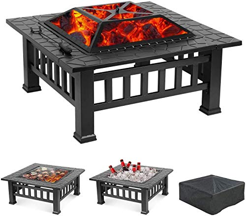 FMOGE Fire Pit - BBQ Grill, 32'' Square Metal Firepit Table,Wood Burning Stove BBQ Table, Ice Pit, Heater, Waterproof Cover, Suitable for Backyard Garden Camping Party Garden,Outdoor Fire Pits