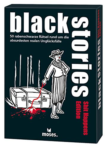 Moses black stories Shit Happens Edition, 50 rabenschwarze Rätsel, Das Krimi Kartenspiel