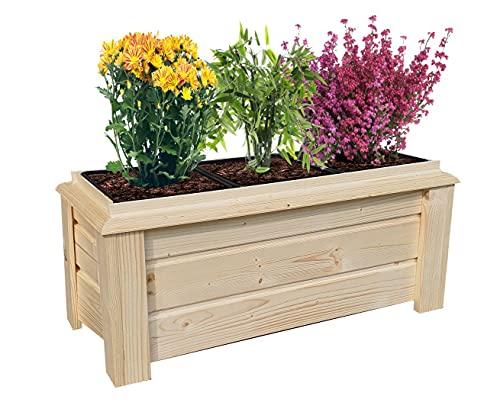 BLUMENTOPF Gartentopf KISTE für Terrasse oder Balkon Blumenkasten BLUMENBEET MIT ABNEHMBAREN TÖPFEN Blumentopf Hochbeet Holzkiste für Blumen oder Kräuter pflanzkübel Balkonkasten hochbeet Gartentöpfe