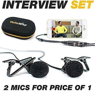 میکروفون Dual Lavalier - میکروفون مصاحبه - 2 بسته میکروفون پادکست - 2 میکروفون لاپلی لاپایر