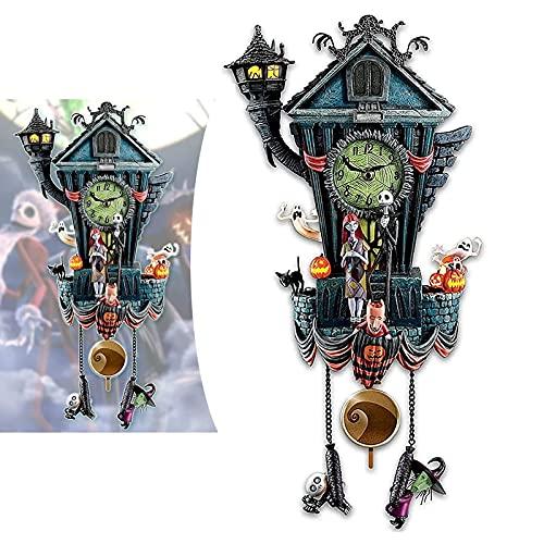 KCRPM Relógio de parede para o Dia das Bruxas, relógio de cuco, da Disney, o Estranho Mundo de Jack, de Tim Burton, para ornamentos de Halloween