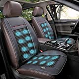 Jukkre Wooden Beaded Car Seat Covers,Universal 12V Summer with Car Fan Massage,Non-slip,Breathable Car Seat Cooling Pad Black, Beige, Red (ALL CAR )
