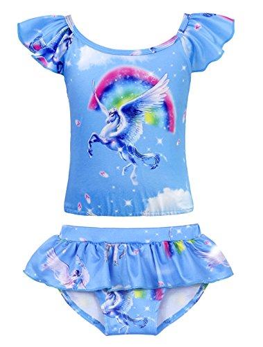 AmzBarley Unicornio Traje de Baño Niña,Ropa de Baño Niña,Disfraz Traje Baño Bañador Natacion Nadar Playa Piscina Verano Vacaciones Nadar Bikini Tankini Niña Infantil dos Piezas Conjunto para 9-10 Años