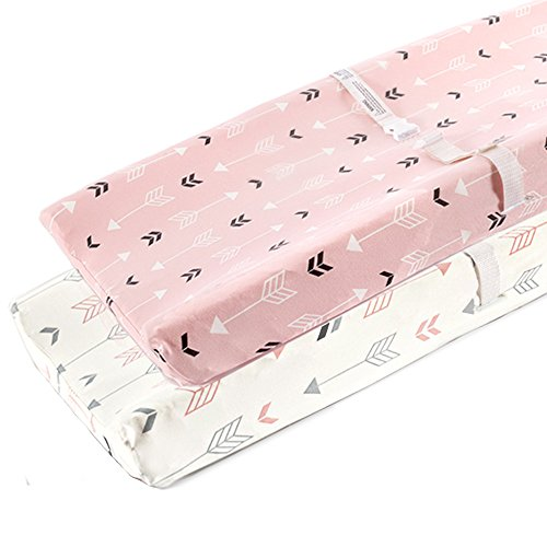Stretchy Changing Pad Covers-BROLEX 2 Pack Jersey Knit Change Pad Covers for Girls Boys,Pink & White Arrow
