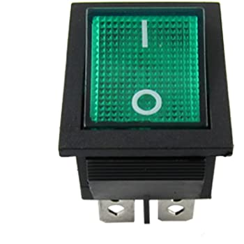 15A ON//OFF Illuminated Red LED Rectangle Latching Rocker Switch Dash Light DPST