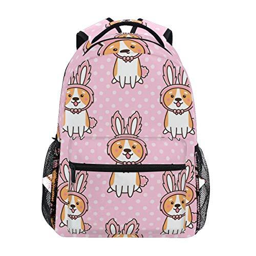 Reise-Laptop-Rucksack mit Hasenohren, Welsh Corgi, wasserabweisend, für Schule, Laptop, Büchertasche für Damen und Herren, für Outdoor-Camping, passend für Notebooks bis zu 35,6 cm (14 Zoll)