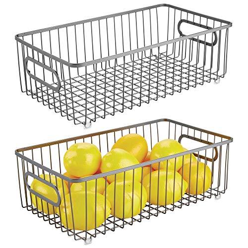 mDesign - Draadmand - groot/flexibele toepassing/multifunctioneel - met handvatten - voor buffetkasten/keukenkasten/werkbladen - voor levensmiddelen/benodigdheden - metaal - pc grafiet