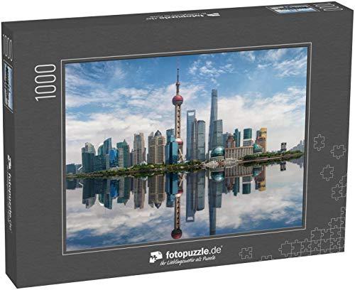 Puzzle 1000 Teile Panorama der Skyline von Shanghai, China, an einem sonnigen Tag - Klassische Puzzle, 1000/200/2000 Teile, in edler Motiv-Schachtel, Fotopuzzle-Kollektion 'China'