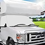 Mofeez RV Windshield Cover Compatible with Class C Ford 1997-2020, UV Block Offer Complete Privacy with Light Preserves Interior ( White Color with Mirror Cutouts)