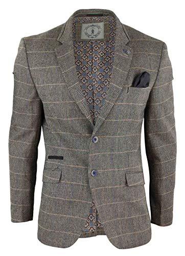Cavani Herren Sakko Oder Weste Brown Vintage Kariert Fischgräte Tweed Design Retro