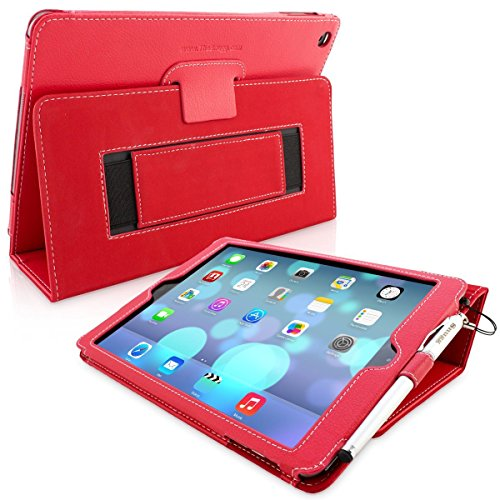 Snugg iPad 9.7 (2018/2017) & iPad Air Case - Smart Cover Case with Kick Stand & (Red Leather) for The Apple iPad Air 1 (2013)