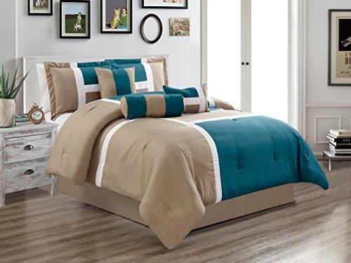 GrandLinen 7 Piece Oversize Teal BLUE/Grey Patchwork All-Season Comforter set 104' X 92' KING Size Microfiber Emma Bedding