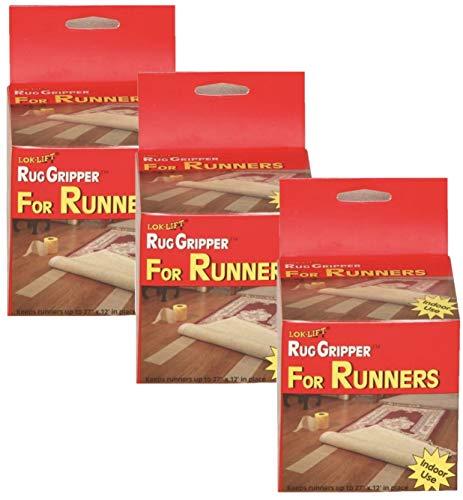 Optimum Technologies Lok Lift Rug Gripper for Runners, 4 Inch by 25 Feet. The Original Slip Resistant Rug Solution (3 Pack)