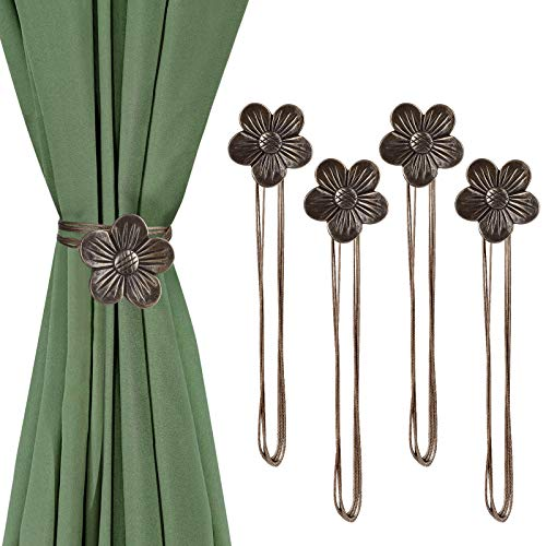 EEEKit 4Pieces Magnetic Curtain Tieback, Vintage Curtain Ties Resin Flower Curtain Drapery Holdback Window Curtain Decorative Buckle Holder for Home Office Balcony
