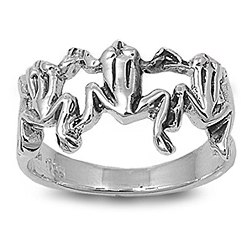 Sterling Silver Women's Frogs Unique Fashion Ring Unique 925 Band Size 11