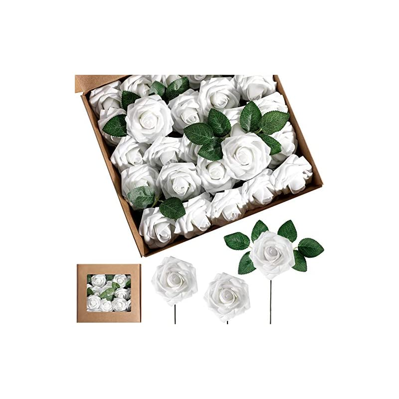 silk flower arrangements 25 pieces artificial foam rose flowers vintage fake roses diy bouquets boutonnieres with leaves and stems for wedding bridal shower banquet party centerpieces and home decor (white)