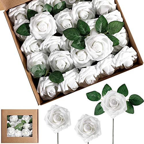 25 Pieces Artificial Foam Rose Flowers Vintage Fake Roses DIY Bouquets Boutonnieres with Leaves and Stems for Wedding Bridal Shower Banquet Party Centerpieces and Home Decor (White)