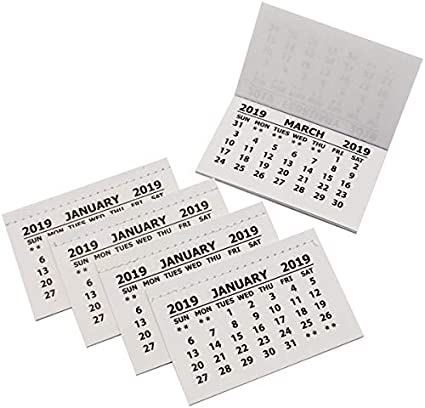 Pack of 50 Mini White Calendar Tear Off Tabs 2021-1 Month Per Page