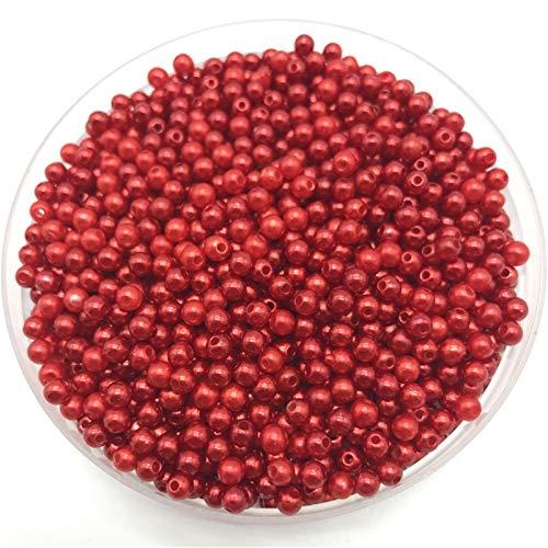 Hyzb 200 unids 4 mm Perlas de imitación Perlas Redondas Espaciador de Perlas Sueltas DIY Joyería Haciendo Collar Pulsera Pendiente Accesorios (Color : 07)