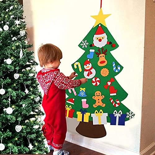 Ahdzqu FAI DA Te Feltro Albero di Natale Albero Regalo di Natale Set di Gioielli Set di Porte per Bambini Appeso a Parete Appeso 3 Piedi (Albero di Natale in Feltro)