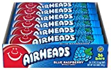 Airheads Candy, Individually Wrapped Full Size Bars for Halloween, Blue Raspberry, Bulk Taffy, Non Melting, Party, 0.55 Ounce (Pack of 36)