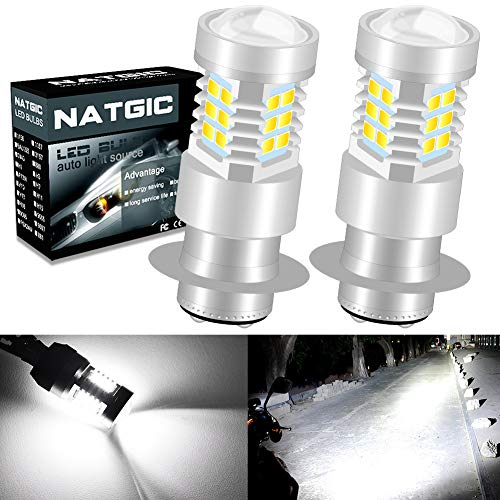 NATGIC P15D H6M Bombillas de luz antiniebla led Xenon White 21 - EX 2835 Chipsets SMD con proyector de lentes para luces de circulación diurnas de luces antiniebla, 10-16 V (paquete de 2)