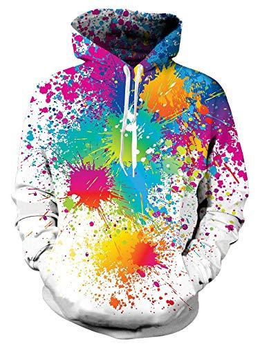 Spreadhoodie 3D Graffiti Kapuzenpullover für Herren Damen Funky Bunt Malerei HD Gedruckt Farbe Pullover Hoody Leichte Sweatshirt für Casual Holiday Weiß M