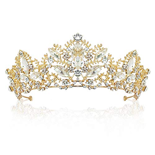 TOCESS Gold Crown Wedding Tiara Queen Princess Crown for Women and Girls Bridal Tiara Prom Crystal Decor for Bride Ladies for Birthday Costume Wedding Festival Party