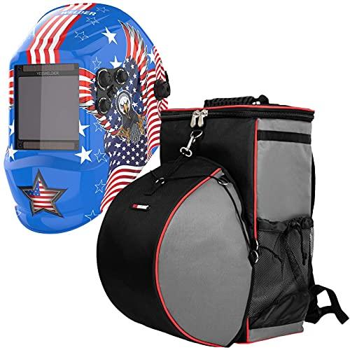 YESWELDER Large Viewing Screen True Color Solar Auto Darkening Welding Helmet|& Welding Backpack Extreme Gear Pack with Helmetcatch