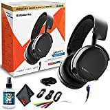SteelSeries Arctis 3 Bluetooth - Wired and Wireless Gaming Headset - for Switch, PC, Playstation 4, Xbox One, VR, and Mobile- Black - with Headphone Cleaner + MicroFibercloth + More - Gaming Bundle