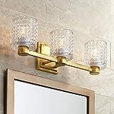 Sari Mid Century Modern Wall Mount Light Gold Metal Hardwired 22' Wide 3-Light Vanity Fixture Textured Diamond Cut Glass Shade for Bathroom Over Mirror House Home Room Decor - Possini Euro Design