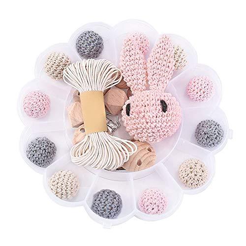 I LOVE MOM - DIY Holzperlen Schnullerkette,Baby Spielzeug Zahnen,Und Kaninchen,Häkeln Hölzerne Korne,Holz-clips,Kinderkrankheiten Halskette (Rosa)