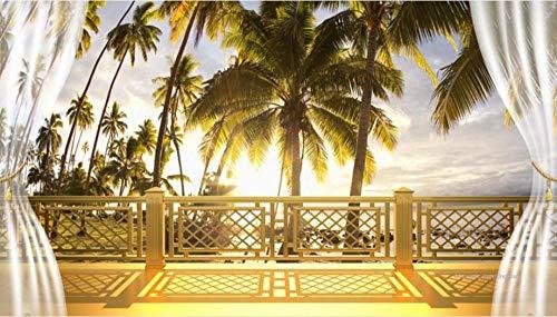 Muurschildering woonkamer slaapkamer 2019 achtergrond behang muurschildering 3D gouden balkon kokospalm landschap behang wooncultuur 3d 200 x 140 cm.