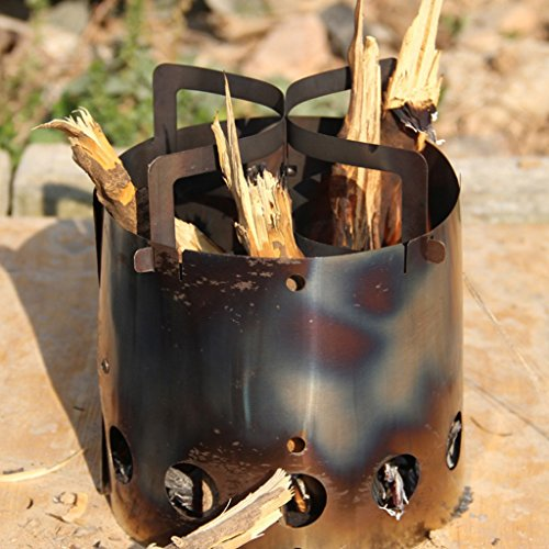 Perfeclan Portable Stainless Steel Camping Wood Burning Stove Furnace Hiking Trekking
