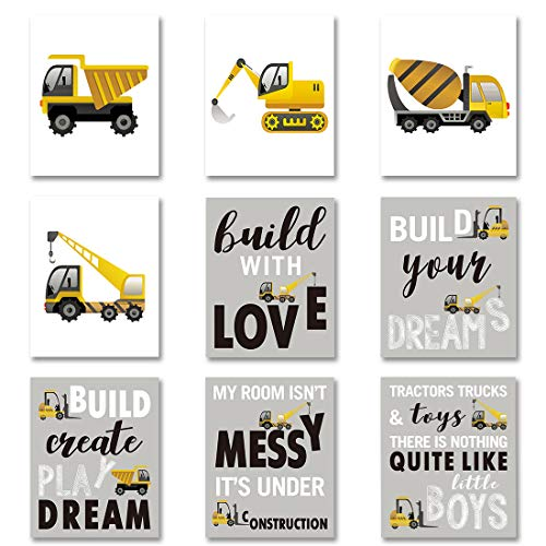 "HPNIUB Construction Trucks Picture Cartoon Construction Transport Vehicle Art Print Set of 9 (10""X8""Canvas Funny&Inspirational Words Poster Painting for Nursery or Kids Boy Room Home Decor,No Frame"
