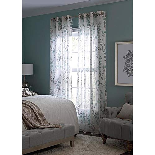 allen + roth Candian 84-in Blue Polyester Grommet Semi-Sheer Single Curtain Panel