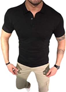 GAGA Men Lapel Casual Pullover Solid Color Short Sleeve Tops T Shirt Blouse